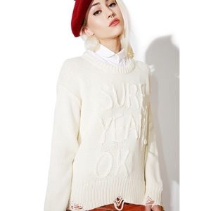 Wildfox 'Sure Charlotte' Distressed Sweater